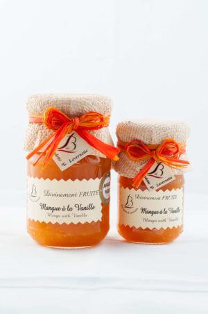 Confiture de Mangue et vanille 250 grammes en pot en verre