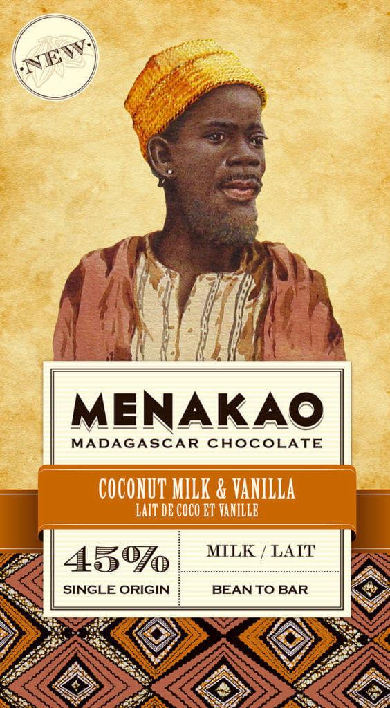 tablette de chocolat lait coco 45% cacao menako