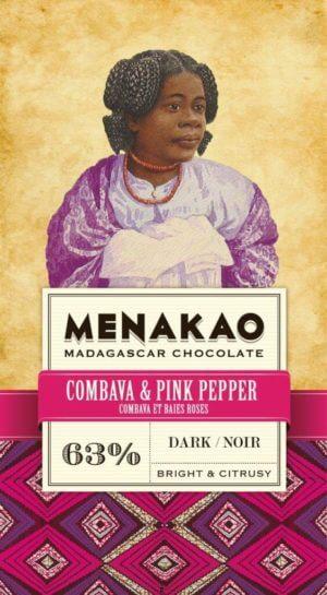 tablette de chocolat noir menako au combava et poivre rose