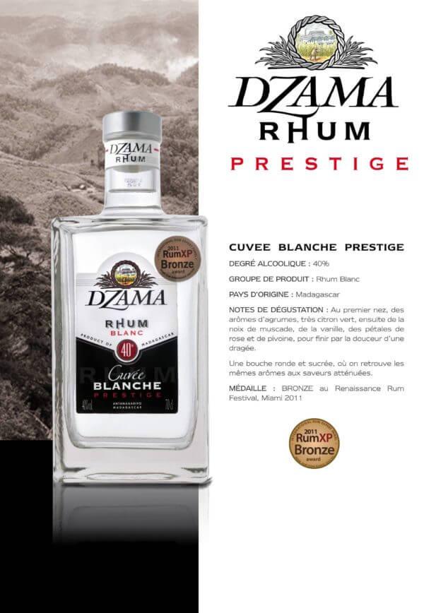 Fiche rhum dzama cuvée blanche prestige